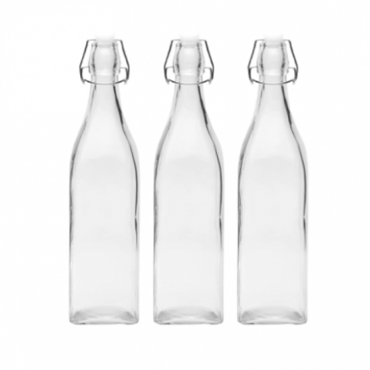 Glass Water Bottles with Swing Top Air Tight Lid - 1000ml (Set of ...